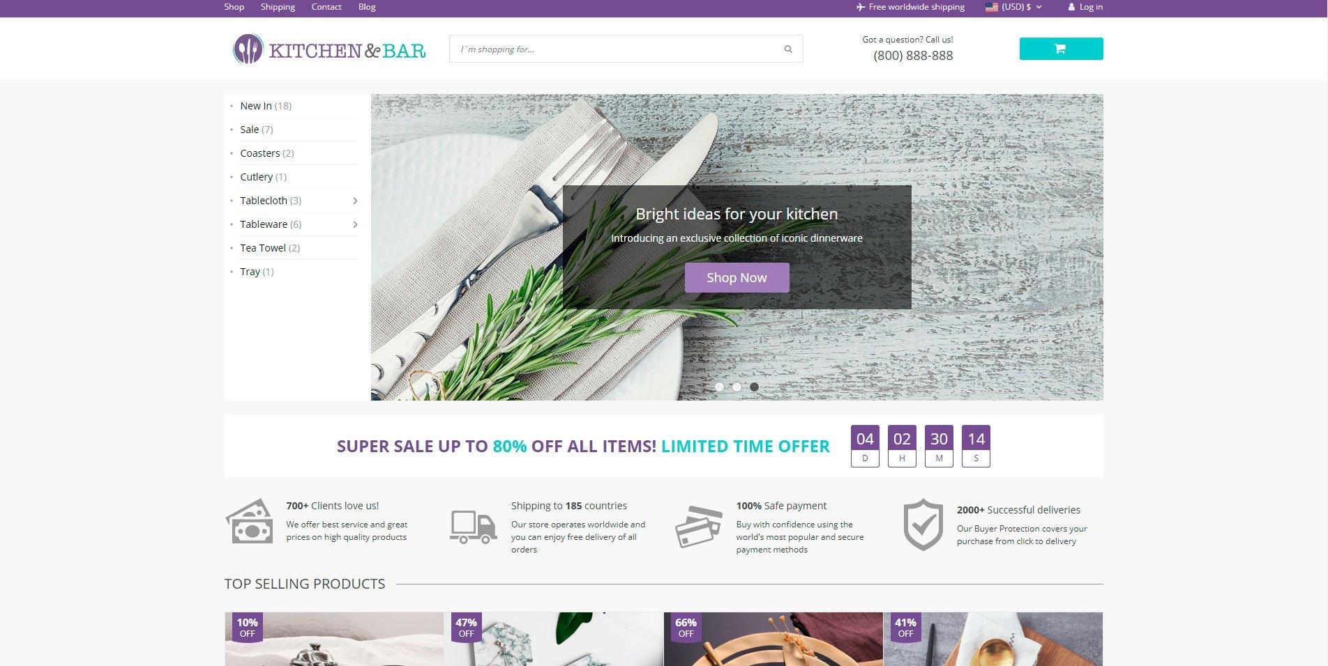 Ejemplo de tema de tienda online de Alidropship