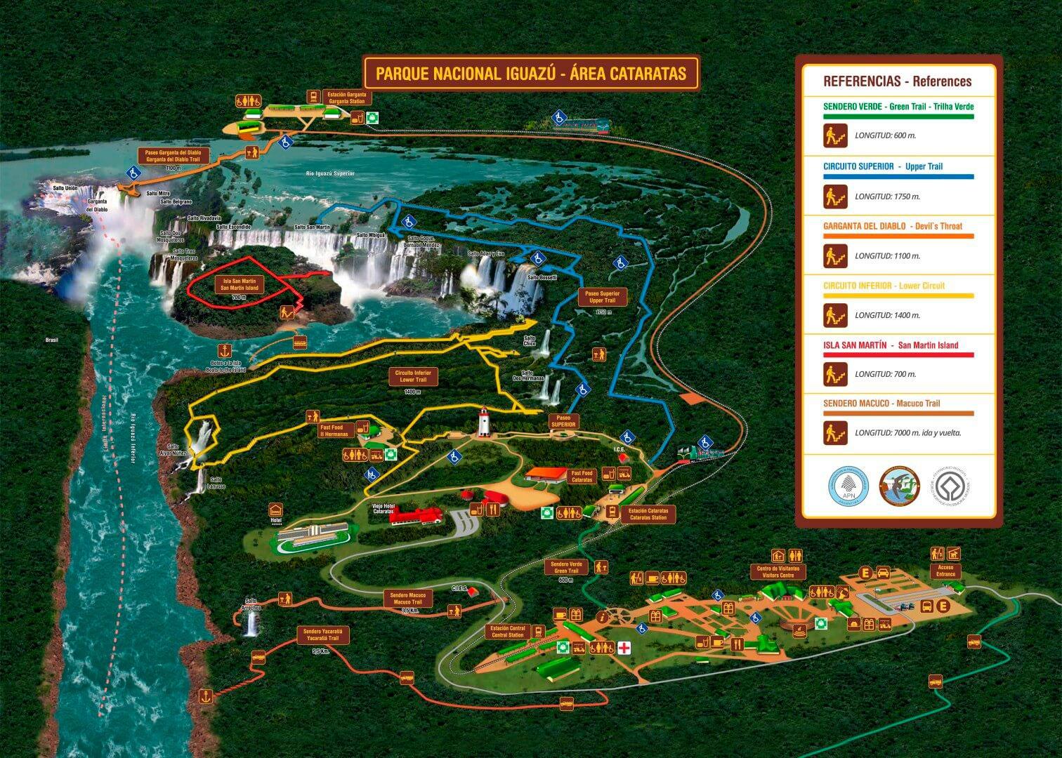 Plano guia cascadas parque nacional iguazú